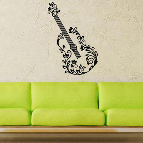 Removable Waterproof Guitar Carved Art Vinyl Wall Stickers Custom - Black - 1pc