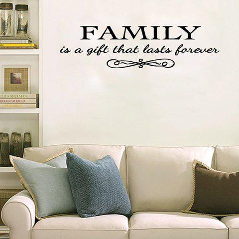 New Vinyl Family Proverbs Waterproof Removable Wall Stickers - BLACK  Mobile