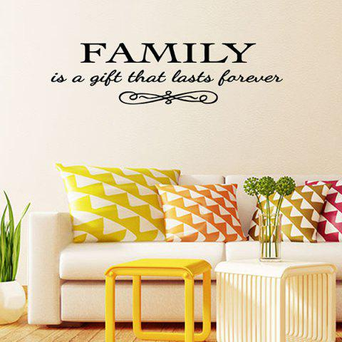Affordable Vinyl Family Proverbs Waterproof Removable Wall Stickers - BLACK  Mobile