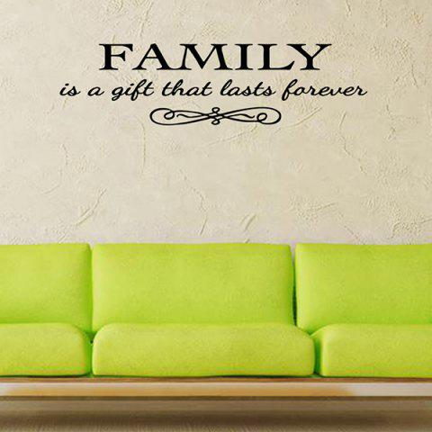 Discount Vinyl Family Proverbs Waterproof Removable Wall Stickers BLACK