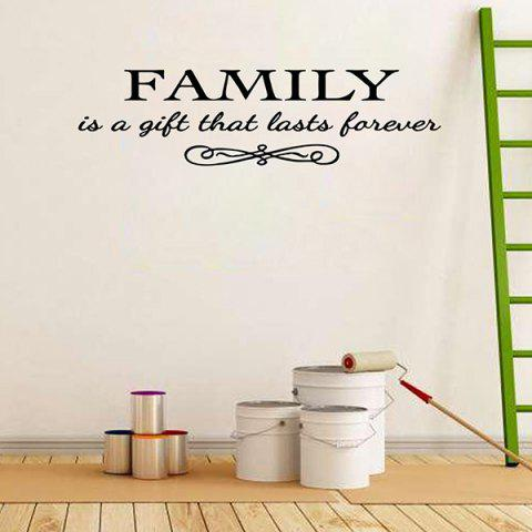 Outfit Vinyl Family Proverbs Waterproof Removable Wall Stickers - BLACK  Mobile