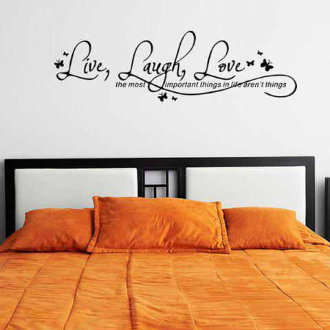 Latest Proverbs Waterproof Removable Art Wall Stickers - BLACK  Mobile