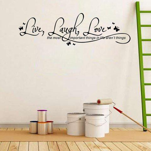 Chic Proverbs Waterproof Removable Art Wall Stickers - BLACK  Mobile