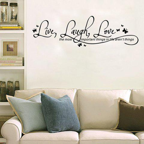 Cheap Proverbs Waterproof Removable Art Wall Stickers - BLACK  Mobile