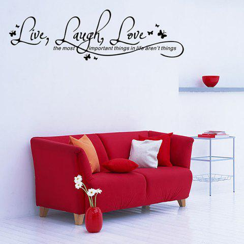 New Proverbs Waterproof Removable Art Wall Stickers - BLACK  Mobile