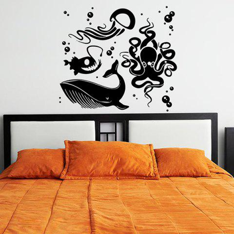 Store Removable Waterproof Cartoon Sea World Wall Stickers BLACK