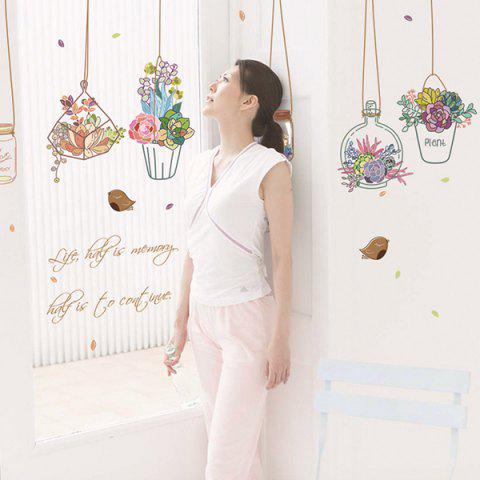 Hanging Basket Potted Flowers Waterproof Removable Wall Stickers - COLORMIX