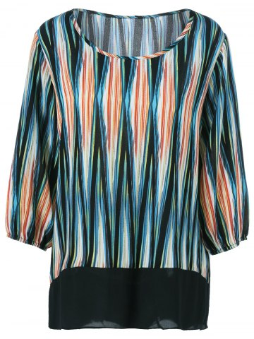 Cheap Plus Size Asymmetrical Striped Blouse COLORMIX 3XL