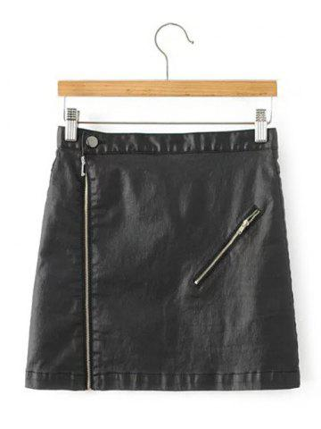Hot Back Pocket PU Leather Zipped Skirt
