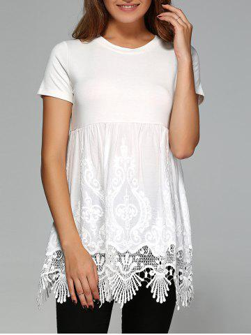 Discount Elegant Round Neck Short Sleeve Solid Color Blouse WHITE XL