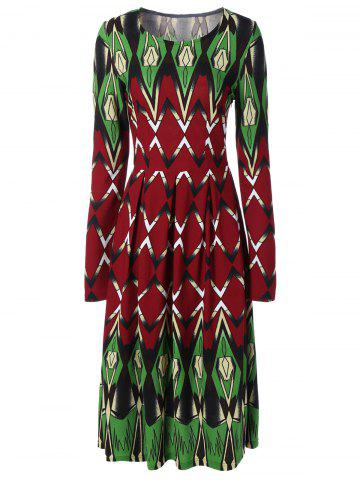 Outfit Printed Long Sleeve Swing Dress COLORMIX 2XL