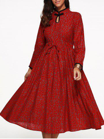 Shop Floral Drawstring Tea Length Long Sleeve Dress