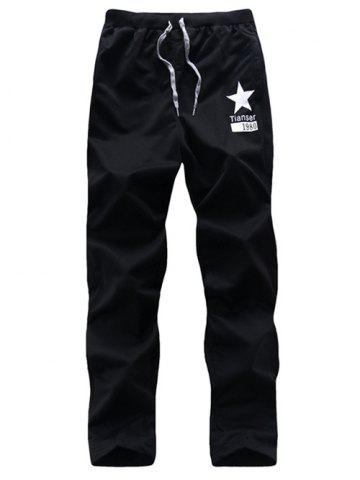 Best Five-Point Star Print Drawstring Casual Pants
