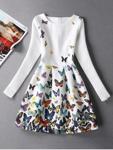 Butterfly Print Skater Dress with Sleeves - White - S