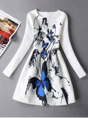 Best Vintage Butterfly Print Fit and Flare Dress With Sleeves - M WHITE Mobile