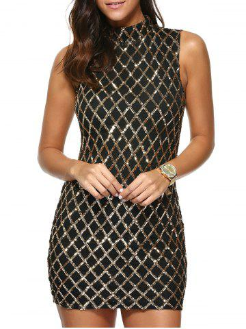 Fancy Sequined Rhombus Pattern Dress
