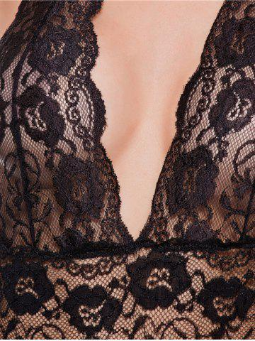 Hot Halter Lace Backless Sheer Teddies - 2XL BLACK Mobile