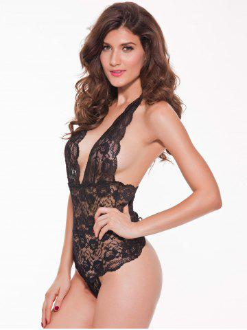 Trendy Halter Lace Backless Sheer Teddies - 2XL BLACK Mobile