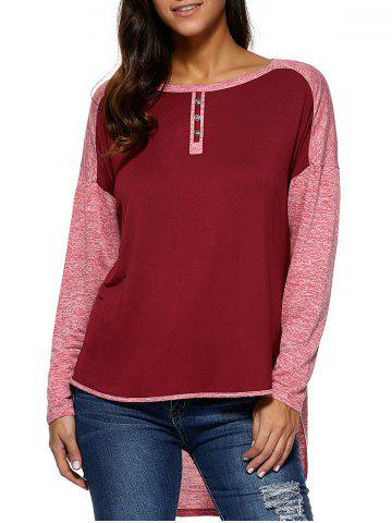 New High Low Hem Spliced Comfy Blouse