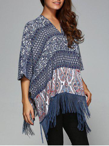 Outfit Paisley Print Fringed Smock Blouse