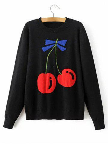 Cheap Cherry Patterned Knitted Sweater