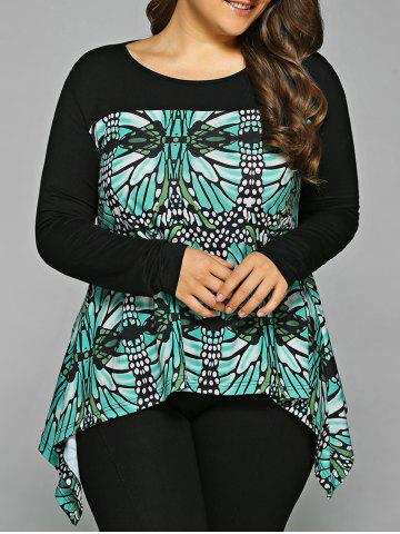 Unique Plus Size Abstract Pattern Asymmetrical Blouse BLACK AND GREEN XL