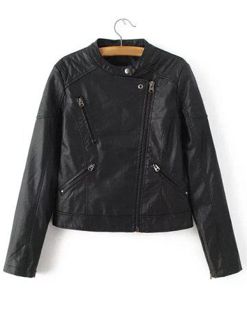 Hot PU Leather Zipped Jacket