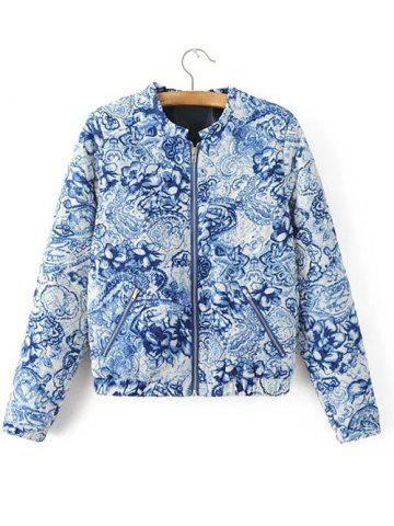 Affordable Zipped Porcelain Print Quilted Jacket BLUE L