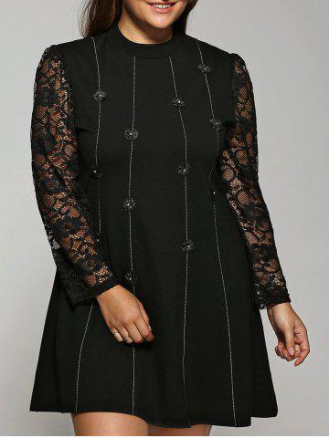 Outfit Buttoned Lace Spliced Dress