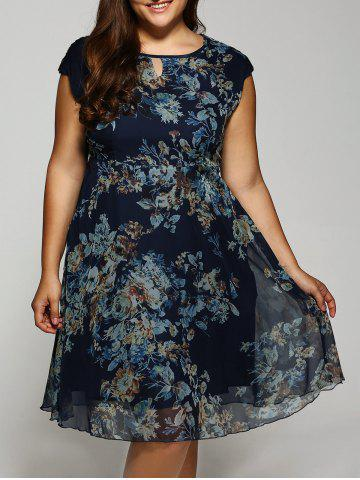 Cheap Cap Sleeve Vintage Floral Dress