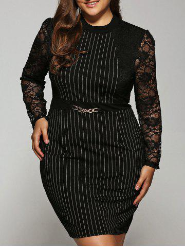 Trendy Striped Lace Splicing Dress
