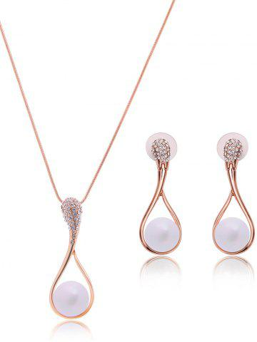 Bijoux Teardrop Faux Perle Set Or Rose