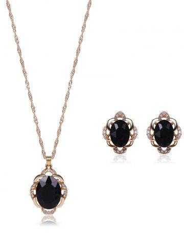 Faux Gem Rhinestone Hollowed Jewelry Set - Black - One-size