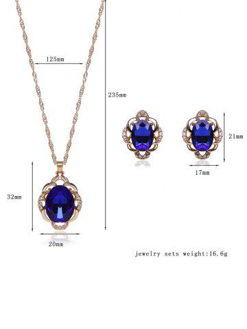 Trendy Hollowed Faux Sapphire Jewelry Set - BLUE  Mobile