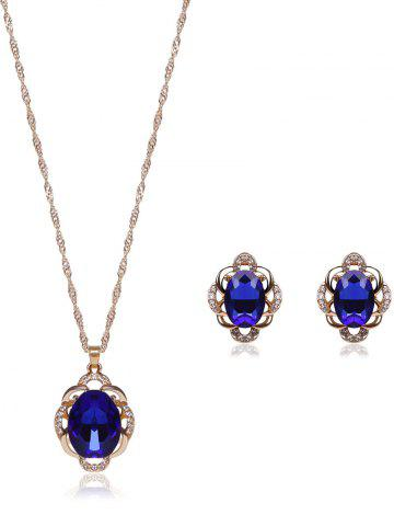 Cheap Hollowed Faux Sapphire Jewelry Set - BLUE  Mobile