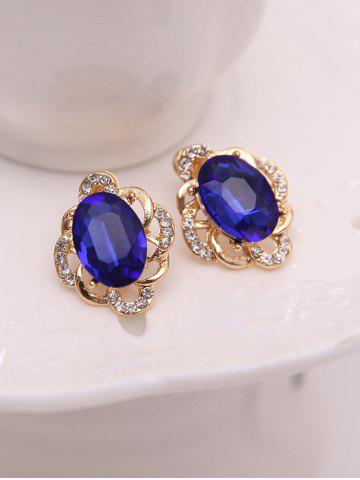 Fancy Hollowed Faux Sapphire Jewelry Set - BLUE  Mobile