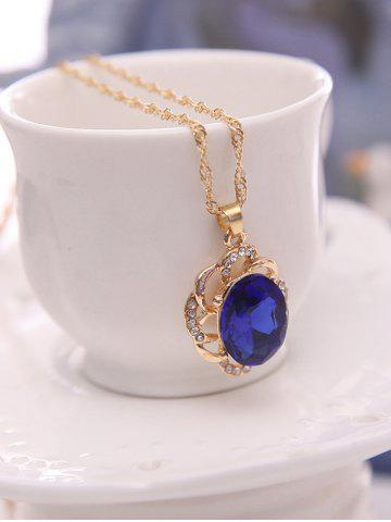 Outfit Hollowed Faux Sapphire Jewelry Set - BLUE  Mobile
