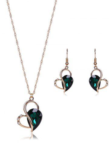 Outfit Faux Crystal Hollow Out Jewelry Set - GREEN  Mobile