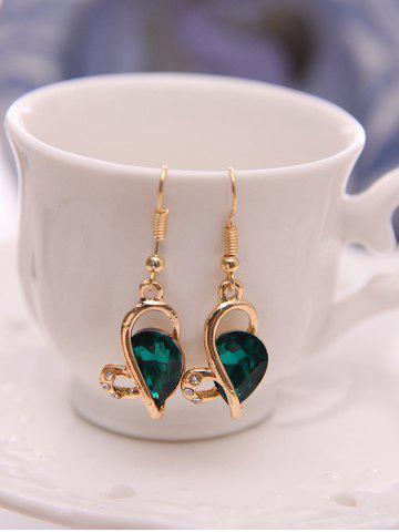 Trendy Faux Crystal Hollow Out Jewelry Set - GREEN  Mobile