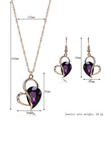 Unique Faux Amethyst Hollowed Jewelry Set - PURPLE  Mobile
