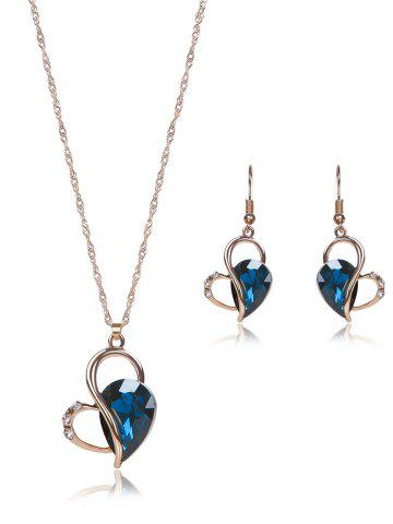 Trendy Hollow Out Faux Crystal Jewelry Set - BLUE  Mobile
