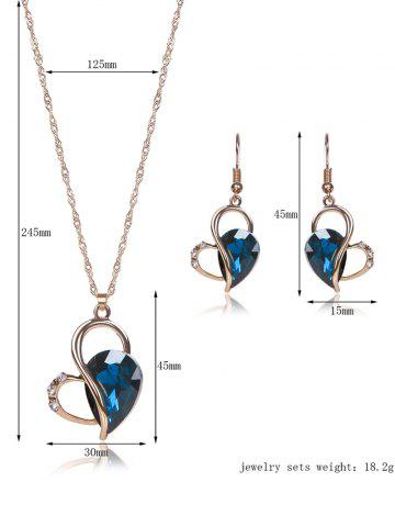 Fashion Hollow Out Faux Crystal Jewelry Set - BLUE  Mobile