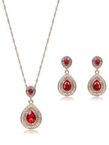 Faux Ruby Teardrop Jewelry Set - RED