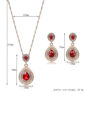 Cheap Faux Ruby Teardrop Jewelry Set - RED  Mobile