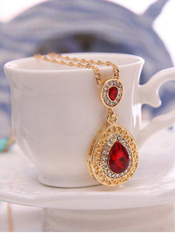Unique Faux Ruby Teardrop Jewelry Set - RED  Mobile