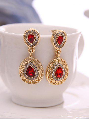 Fashion Faux Ruby Teardrop Jewelry Set - RED  Mobile