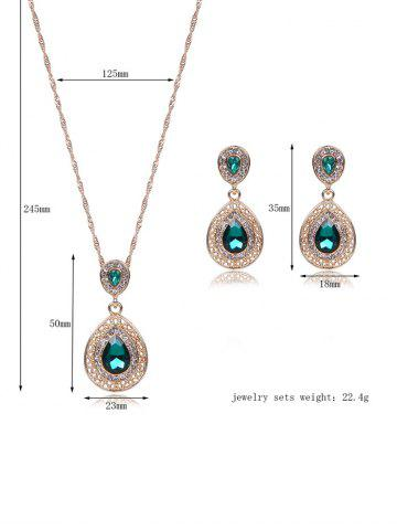 New Faux Gem Hollowed Teardrop Jewelry Set - GREEN  Mobile
