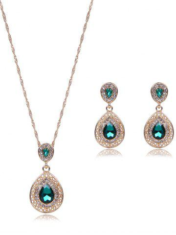 Bijoux Faux Gem Hollowed Teardrop Set Vert