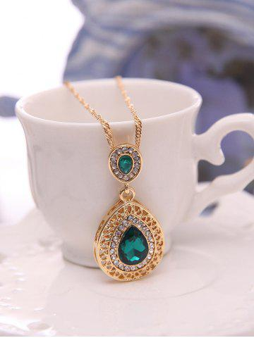 Cheap Faux Gem Hollowed Teardrop Jewelry Set - GREEN  Mobile