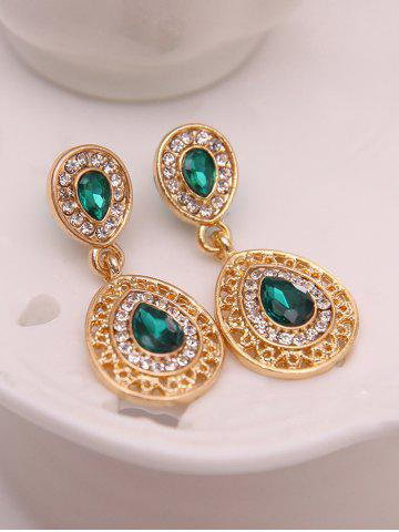 Outfits Faux Gem Hollowed Teardrop Jewelry Set - GREEN  Mobile